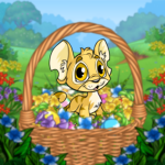 Baby in an Easter Basket Background