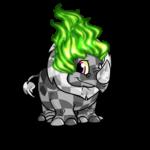 Green Flame Wig